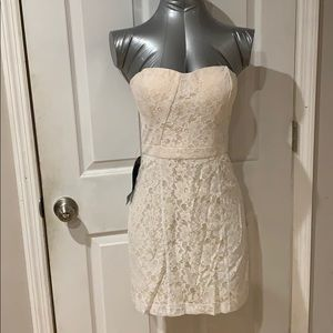 Bebe white lace mini dress w/ ivory